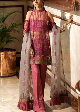 Kross Kulture Embroidered Net Unstitched 3 Piece Suit KK20UN 1F BERRY - Luxury Collection
