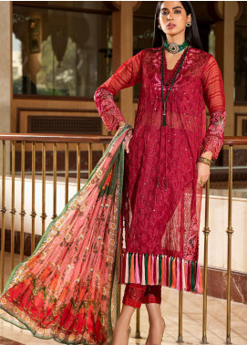 Kross Kulture Embroidered Organza Unstitched 3 Piece Suit KK20UN 3D SCARLET - Luxury Collection