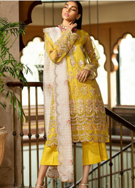 Kross Kulture Embroidered Organza Unstitched 3 Piece Suit KK20UN 4D ZEYTIN - Luxury Collection