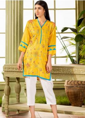 Kross Kulture Embroidered Viscose Stitched Kurtis KB-20403 Yellow