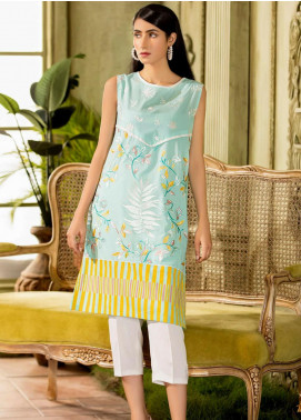 Kross Kulture Embroidered Cotton Stitched Kurtis KB-20431 Pista Green