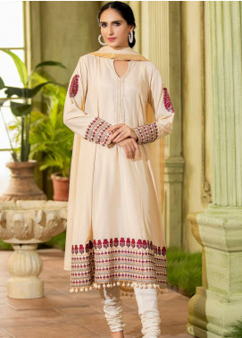 Kross Kulture Embroidered Cotton Silk Stitched 2 Piece Suit KE-20336 Cream