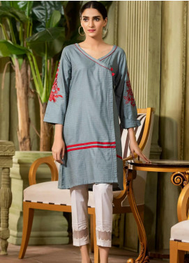 Kross Kulture Embroidered Cotton Stitched Kurtis KE-20396 Grey