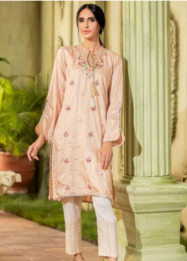 Kross Kulture Embroidered Jacquard Stitched Kurtis KE-20400 Peach