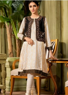Kross Kulture Embroidered Jacquard Stitched Kurtis KE-20430 Black