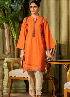 Kross Kulture Embroidered Jacquard Stitched Kurtis KE-20433 Orange