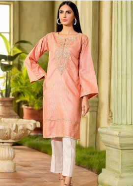 Kross Kulture Embroidered Jacquard Stitched Kurtis KE-20516 Peach