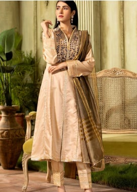 Kross Kulture Embroidered Cotton Net Stitched 2 Piece Suit KX-20604 Beige