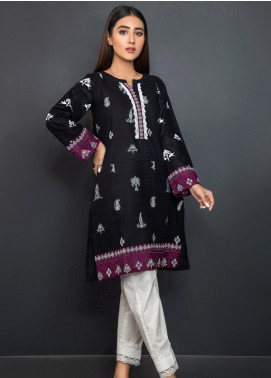 Kross Kulture Embroidered Khaddar Stitched Kurtis KB-20660 Black