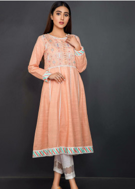 Kross Kulture Embroidered Khaddar Stitched Kurtis KB-20669 Peach