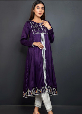 Kross Kulture Embroidered Karandi Stitched Kurtis KE-20658 Purple