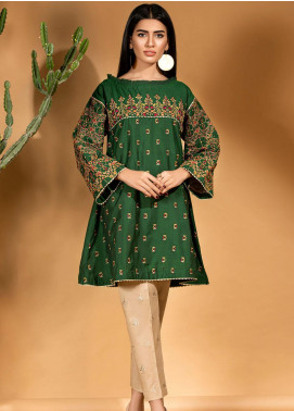 Kross Kulture Embroidered Cotton Silk Stitched Kurtis KE-20716 Green