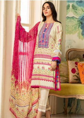 Kross Kulture Embroidered Lawn Unstitched 2 Piece Suit KK20ZS-2 BANDHNI MZB-028 - Spring / Summer Collection
