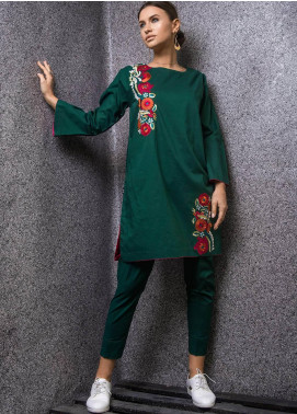 Kuli Jume Embroidered Cotton Stitched 2 Piece Suit KJ-03-19-001 Emerald Begonia