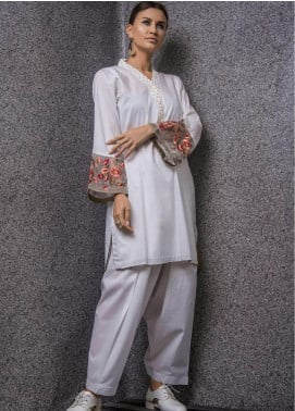 Kuli Jume Embroidered Cotton Stitched 2 Piece Suit KJ-03-19-002 Frosted Garland