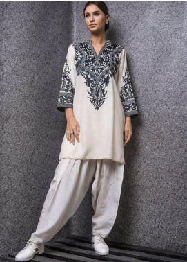 Kuli Jume Embroidered Cotton Stitched 2 Piece Suit KJ-03-19-003 Majestic White