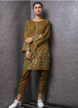 Kuli Jume Embroidered Cotton Stitched 2 Piece Suit KJ-03-19-004 Rustic Olive
