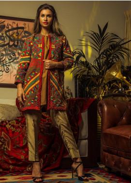 Kuli Jume Embroidered Premium Velvet Stitched Coats KJ-12-19-003 SCARLET VERDURE