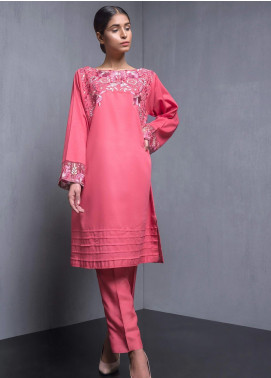 Kuli Jume Embroidered Cotton Stitched Kurtis Carnation Pink