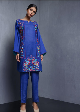 Kuli Jume Embroidered Cotton Stitched Kurtis Eclectic Blue