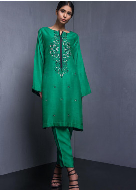 Kuli Jume Embroidered Raw Silk Stitched 2 Piece Suit Jargon Jade