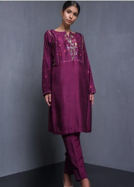 Kuli Jume Embroidered Raw Silk Stitched 2 Piece Suit Royal Plum