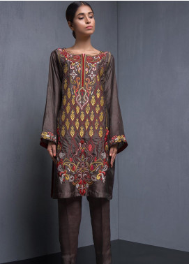 Kuli Jume Embroidered Raw Silk Stitched 2 Piece Suit Rustic Bronze