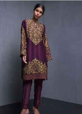 Kuli Jume Embroidered Raw Silk Stitched 2 Piece Suit Mulberry Wine