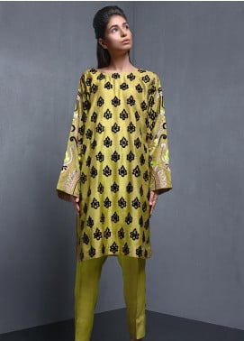 Kuli Jume Embroidered Raw Silk Stitched 2 Piece Suit Mustard Dandelion