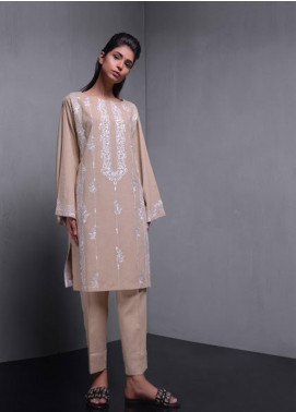Kuli Jume Embroidered Irish Linen Stitched Kurtis Habana Beige