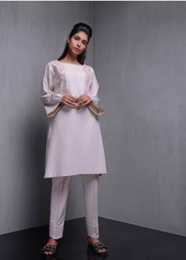 Kuli Jume Embroidered Irish Linen Stitched Kurtis Sepia Pearl