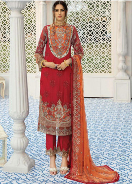 La Fantaisie by Serene Premium Embroidered Chiffon Unstitched 3 Piece Suit LF20SP 1016 Carnelian Allure - Luxury Collection