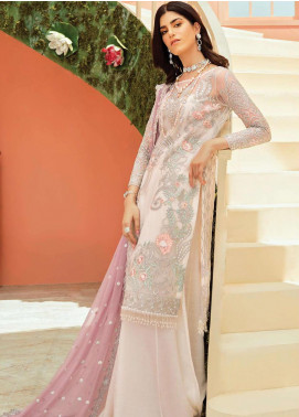 Serene Premium Embroidered Net Unstitched 3 Piece Suit IMP20LR 201 Daisy Lavender - Luxury Collection