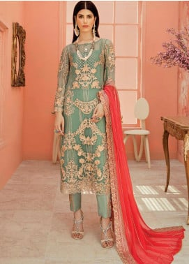 Serene Premium Embroidered Chiffon Unstitched 3 Piece Suit IMP20LR 202 Sky Mystique - Luxury Collection