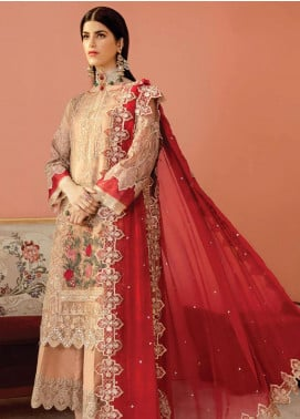 Serene Premium Embroidered Net Unstitched 3 Piece Suit IMP20LR 205 Golden Beige - Luxury Collection