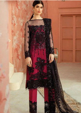 Serene Premium Embroidered Net Unstitched 3 Piece Suit IMP20LR 206 Midnight Glare - Luxury Collection