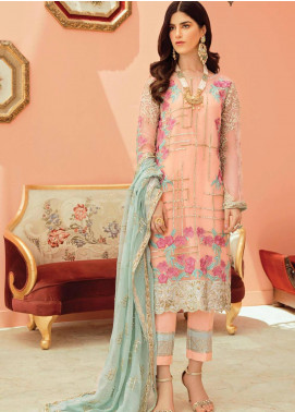 Serene Premium Embroidered Chiffon Unstitched 3 Piece Suit IMP20LR 207 Salmon Blush - Luxury Collection