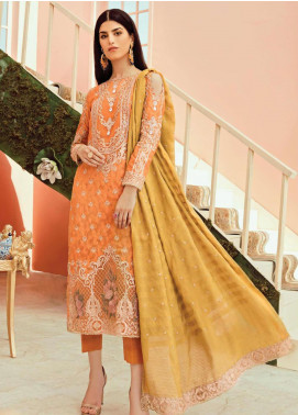 Serene Premium Embroidered Jacquard Unstitched 3 Piece Suit IMP20LR 210 Tangerine Glitz - Luxury Collection