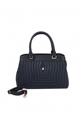 Susen PU Leather Satchels Bag for Women - Navy Blue with Stripes