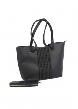 Susen PU Leather Tote Bag for Women - Black with Stripes