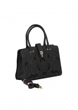 Susen PU Leather Satchels Bag for Women - Black with Cut Work Embroidery