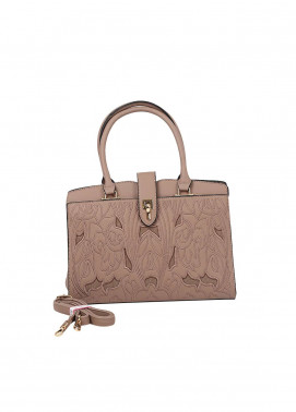 Susen PU Leather Satchels Bag for Women - Khaaki with Cut Work Embroidery