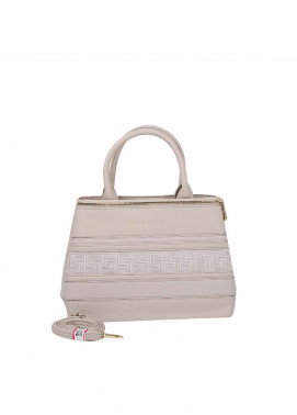Susen PU Leather Satchels Bag for Women - Cream with Stripes