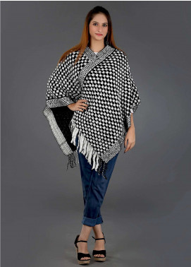 Sanaulla Exclusive Range Casual Acrylic Free Size Ponchos SAM18P 03 - Winter Collection
