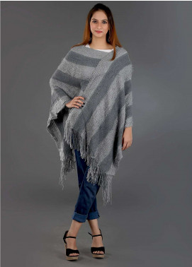 Sanaulla Exclusive Range Casual Acrylic Free Size Ponchos SAM18P 07 - Winter Collection