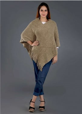 Sanaulla Exclusive Range Casual Acrylic Free Size Ponchos SAM18P 10 - Winter Collection