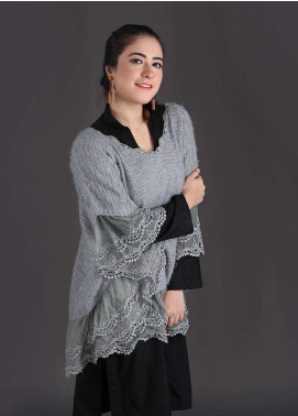 Sanaulla Exclusive Range Embroidered Acrylic Free Size Ponchos 18 - Winter Collection