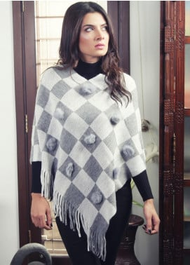 Sanaulla Exclusive Range Textured Acrylic Free Size Ponchos 19-06 Grey - Winter Collection