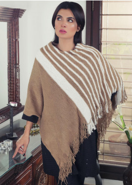 Sanaulla Exclusive Range Textured Acrylic Free Size Ponchos 19-07 Brown - Winter Collection