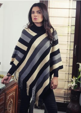 Sanaulla Exclusive Range Textured Acrylic Free Size Ponchos 19-08 Multi - Winter Collection